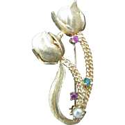 Lovely Tulips with Rubies, Pearls and Emeralds in 14k Yellow Gold