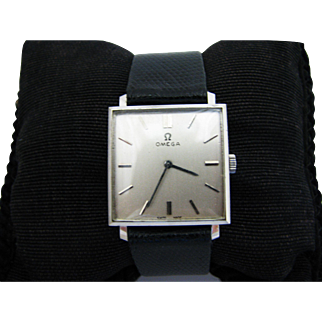 Extremely Handsome Square 14k White Gold Omega Watch