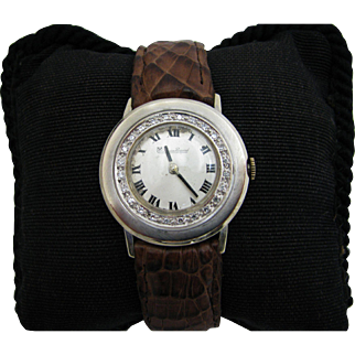 Nice Lucien Piccard Diamond Bezel Watch from 1980's in 14k Gold