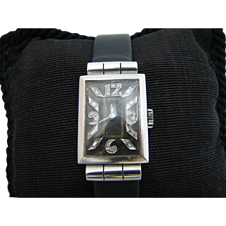 Vintage 1930's Glycine Watch in Platinum with Diamond Markers