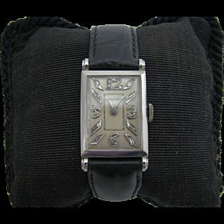 Handsome Vintage 1930's Longines Watch in Platinum with Diamonds