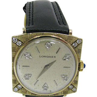 Extremely Handsome 14k Gold Longines Diamond Watch from the 1960's