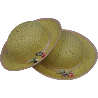 "Two pretty doll straw hats 6"" wide"