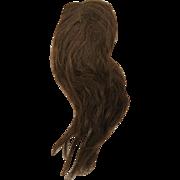 Antique Doll wig long dark brown human hair 11-12