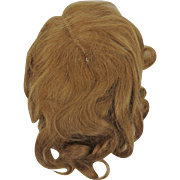 Antique Doll wig light brown human hair 12-13