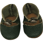 Mint Vintage Dark Green Center Snap Shoes for Ginny or Muffie