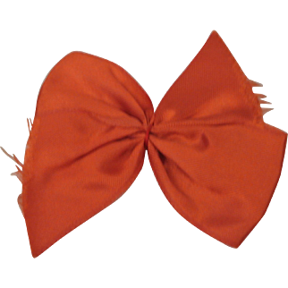 Early Vintage Ginny Big Red Hair Bow w/ Barrette