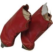 Red Leather Ice Skates-Fit Ginny, Muffie, Alexanderkins-Near Mint