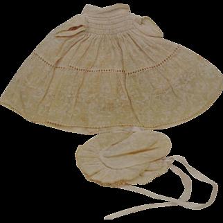 Darling Early Crib Crowd Dress & Bonnet in Shadow Organdy Print