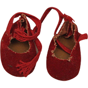 """1950's Red Suede Cloth Tie Shoes-Fit Muffie, Ginny, Alex 8""""-Ship Included"""