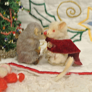 Two Tiny Cute Vintage Mice
