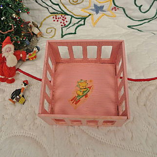 Vintage Small Adorable Wooden Play Pen