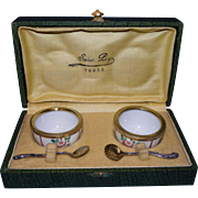 Pair of vintage  open salt cellar, Limoges porcelain ,with 2 sterling silver spoons salt  French 1920/1930