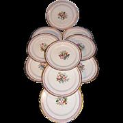 Exquisite set of 10 French dessert plates. Old Paris porcelain. Circa 1840