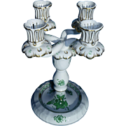 HEREND porcelain, Green Chinese bouquet, 4 Arm Candle Stick Holders