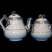Antique French Opulent Large Old Paris Porcelain, Teapot & sugar bowl circa 1840