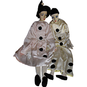 Exceptional lovers Pierrot and Pierrette, French boudoir dolls. Circa 20s / 30s