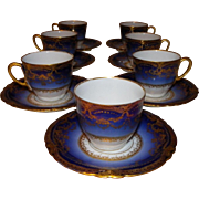 LAYAWAY PLAN 7 Coffee cups Sublime porcelain Theodore Haviland Limoges France. Antique Cobalt Ranson. Theodore Haviland Limoges porcelain.