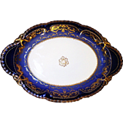 LAYAWAY PLAN Large oval dish, porcelain Sublime Theodore Haviland Limoges France. Antique Cobalt Ranson.