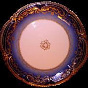 LAYAWAY PLAN Large round dish, porcelain Sublime Theodore Haviland Limoges France. Antique Cobalt Ranson.