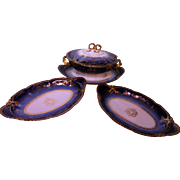 LAYAWAY PLAN  2 Celery plates and covered sauceboat, Theodore Haviland Limoges porcelain Sublime France. Antique Cobalt Ranson.