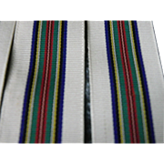 Old French ribbon, soft, silky, white with colorful lines. +236 inches long