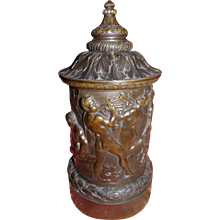 Exceptional antique french neoclassical tobacco jar, bronze 19th