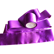 Old French ribbon roll, purple, rayon.