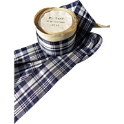 Old French ribbon navy blue and white Tartan
