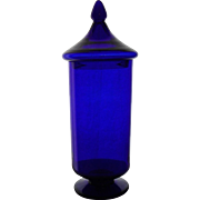 French antique cobalt glass apothecary jar wide signed Portieux