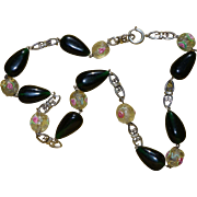 Beautiful glass necklace and sterling silver, antique French 19th century