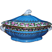 Antique French porcelain Sevres style big bonbonniere or small tureen