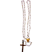 French Rosary gold plated and crystal translucent vintage and new stock of # 5