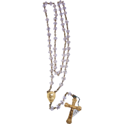 French Rosary gold plated and crystal translucent vintage and new stock # 7