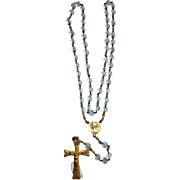 French Rosary gold plated and crystal translucent vintage and new stock # 8