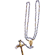 French Rosary gold plated and crystal translucent vintage and new stock # 9
