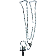 French rosary silver plated and crystal translucent vintage and new stock # 11