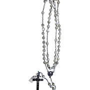 French rosary silver plated and mother of pearl and new vintage of stock # 14