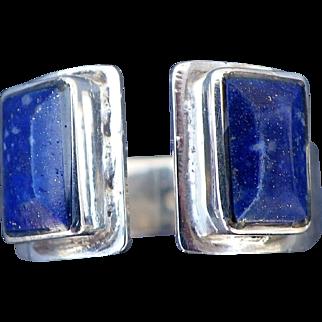 Vintage silver lapis lazuli ring unisex style Torque