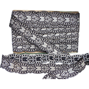 circa 1900 Old French ribbon woven silk