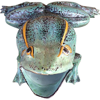 Antique, exceptional big frog, French majolica ST Clement