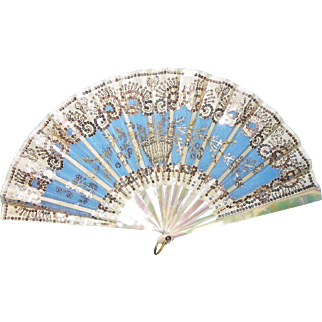 Exceptional French fan in mother-of-pearl 19th century Duvelleroy