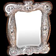 Antique table mirror English silver 1905 Edwardian