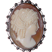 Antique Silver Cameo Brooch and Carved Shell Circa 1880