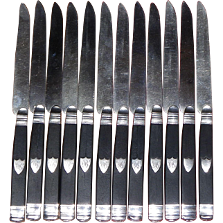 Antique french set of 12 dessert knives silver and ebony 1819-1838