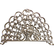 Openwork ornate letter napkin holder Flower basket German 800 silver circa 1900
