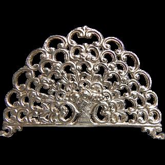 Openwork ornate letter napkin holder Flower basket German 800 silver circa 1900