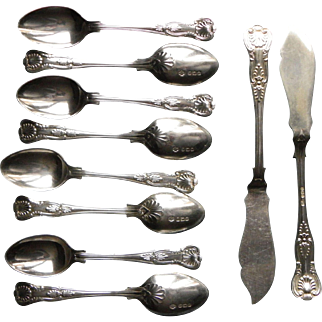 8 coffee spoons & 2 butter knives, solid silver Kings pattern William Hutton Circa 1927