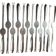 Silver plated set 12 lobster fork pick William Hutton 1930