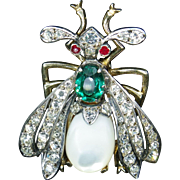 French antique impressive brooch bee, sterling silver and vermeil signed